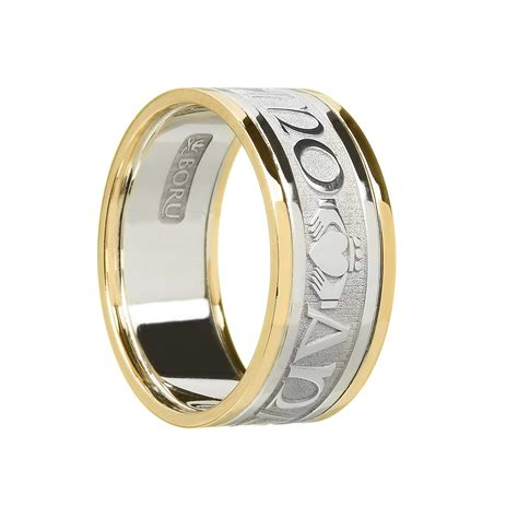 gents mo anam cara soul mate wedding ring with trims celtic jewelry by boru