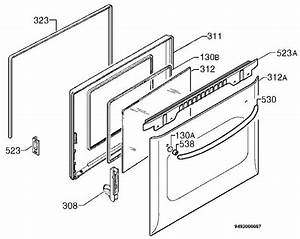 Zanussi Bms641n  94971062902  Oven Door Spare Parts Diagram