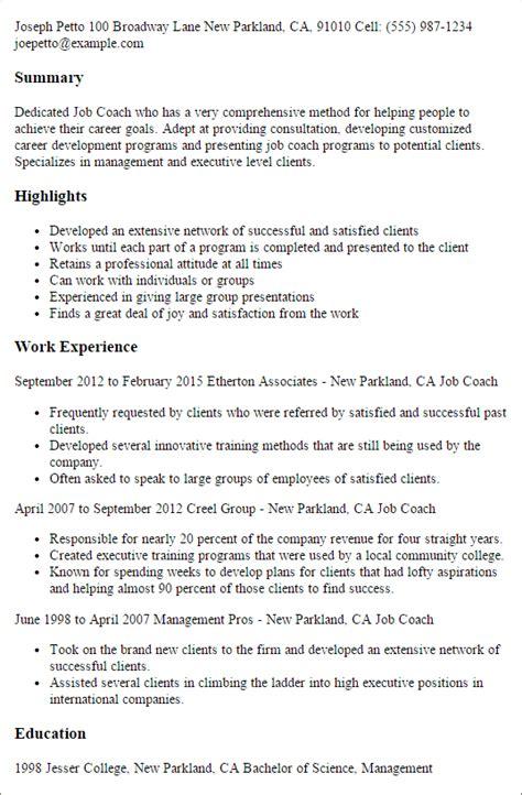 Career Coach Resume 1 coach resume templates try them now myperfectresume