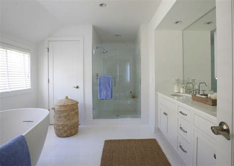 Modern Coastal Bathroom with Woven Mirrors   Cottage