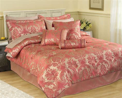 Carrington Rose Pink Linen Damask Bedspread Throw Duvet