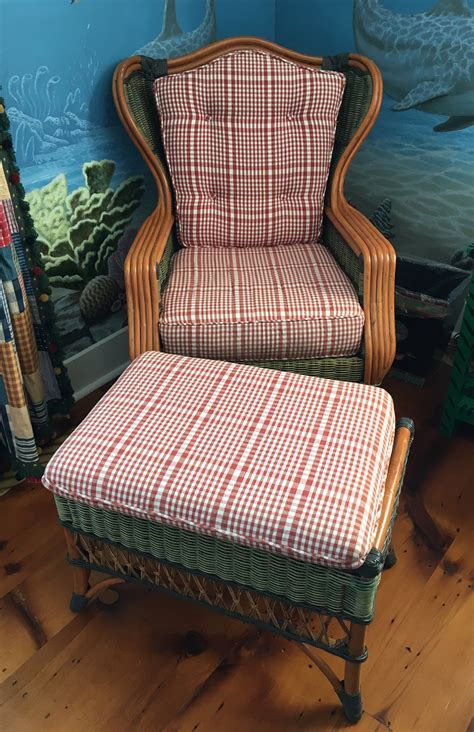 wicker chair with ottoman wicker french wicker and rattan wing chair and ottoman