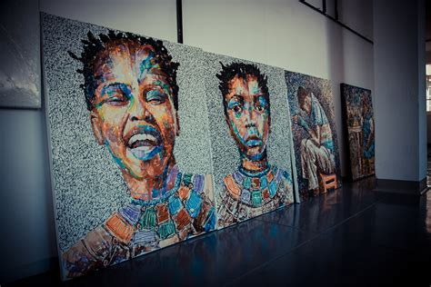 meet  artist  paints  recycled plastic  materia