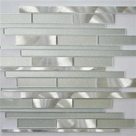 white and silver interlocking metal glass mosaic tile