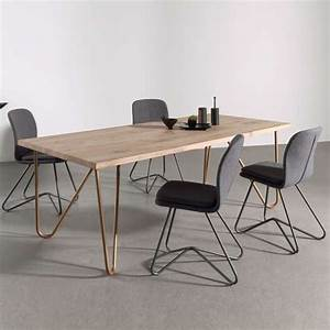 Table Bois Massif Design : table design plateau bois massif pieds g om triques en m tal weaver 4 ~ Teatrodelosmanantiales.com Idées de Décoration