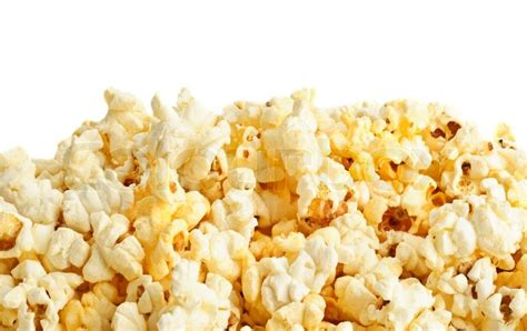 popcorn background salted popcorn grains on the white background stock