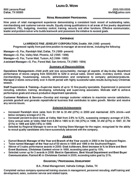 Professional Retail Resume by Retail Manager Resume Is Made For Those Professional