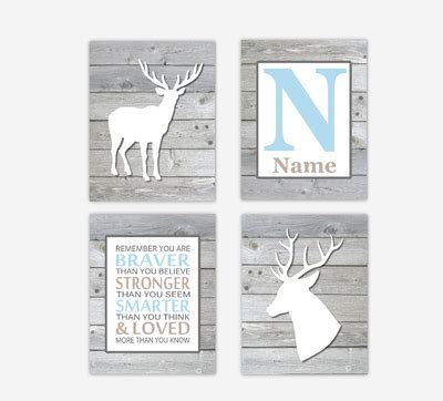 Deer Baby Boy Nursery Art Blue Gray Antlers Personalized