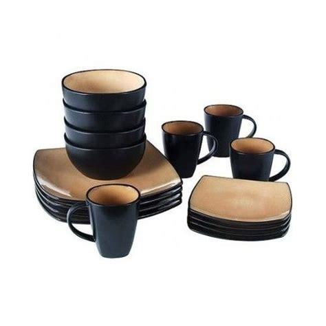 16 Piece Square Dinnerware Set Stoneware Dishes Kitchen