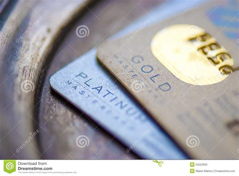 mastercard gold platinum credit card editorial image