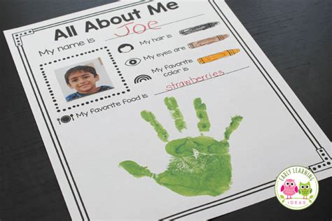 all about me preschool activity early learning ideas