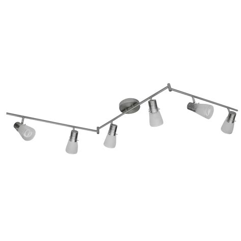 brushed nickel track lighting kits shop portfolio 6 light 70 9 in brushed nickel fixed track