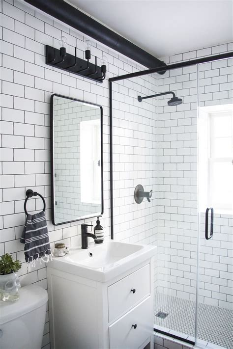 modern meets traditional black  white bathroom