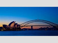 Sydney's icons at sunset Sydney Harbour Bridge & Sydney