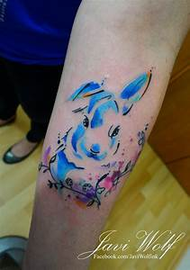 Conejo en Acuarelas by Javi Wolf Tatuajes para Mujeres