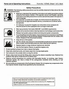 Spx Otc 7448 Fueljector Cleaner Owners Manual