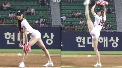 people love watching south korean girls throw baseball
