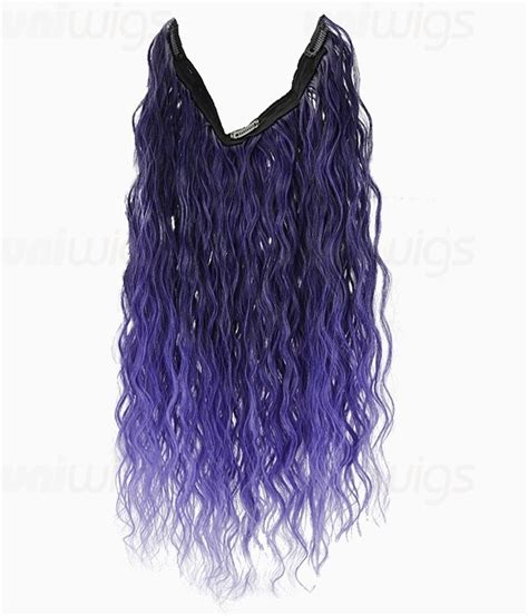 20 Ombre Purple Curly Heat Friendly Synthetic Flip And Clip