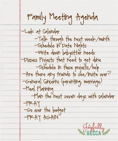 Family fun day committee special meeting agenda. Family Meeting Agenda   Family meeting, Family parenting ...