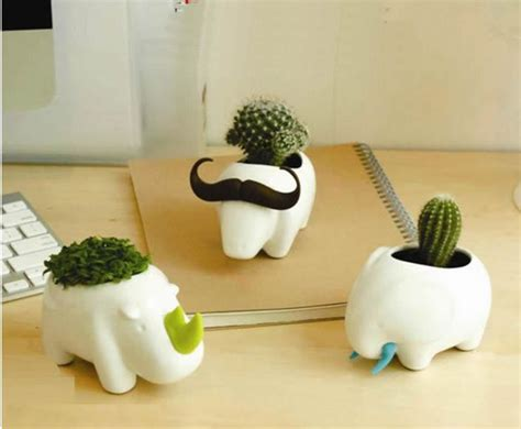 Mini Cute Ceramic Pots Simple Animal Desktop Flowerpot