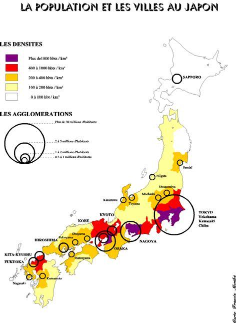 Nouvelle Carte Du Monde Japonais by Japon Densit 233 Carte Populationdata Net