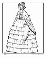 Coloring Victorian Pages Adult Doll Dress Woman Colouring Fashioned Dresses Print Books Ruffled Printable 1800 Dolls Lady Sheets Young Clothing sketch template