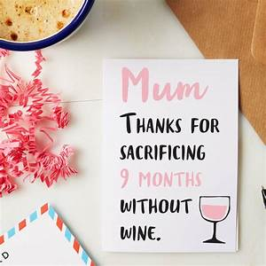 thanks mum for not drinking mothers day card by ...