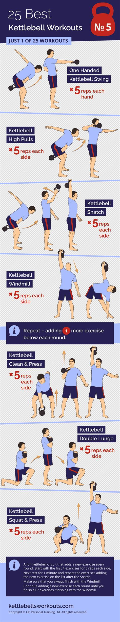 step ladder kettlebell workout exercises windmill press clean squat handed five
