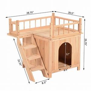 pawhut 2 story indoor outdoor wood cat house shelter dog With two story dog bed