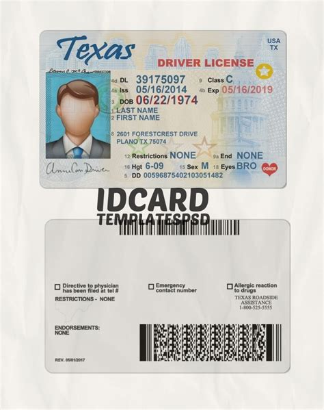 texas driver license psd id card templates psd
