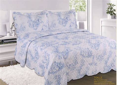 Blue Quilted Bedspread by Country Cottage Quilted Bedspread Comforter Set