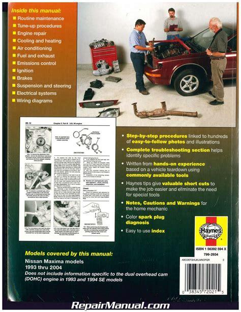 free auto repair manuals 1999 nissan maxima security system haynes nissan maxima 1993 2004 auto repair manual