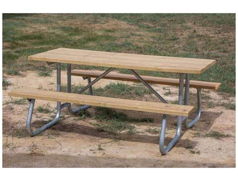Ft Southern Yellow Pine Wooden Picnic Table With Welded