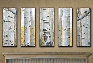 small personalized aspen wall art set of 5 With kitchen cabinets lowes with aspen tree wall art