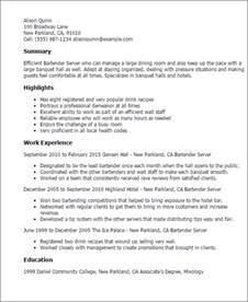 bartender resume summary exles professional bartender server templates to showcase your talent myperfectresume