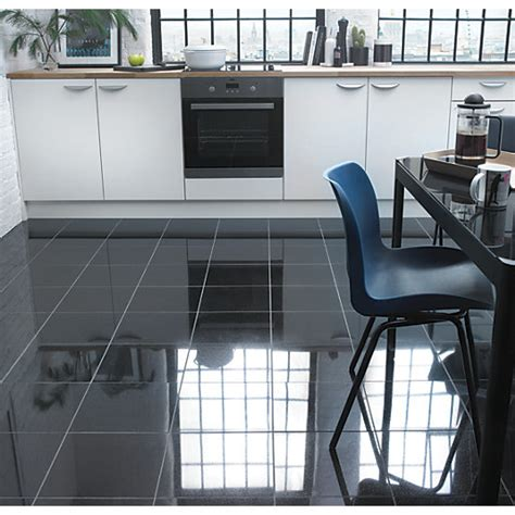 black gloss kitchen wall tiles wickes polished granite black floor tile 305 7875