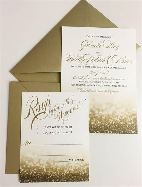 years eve wedding invitation gold  glittery