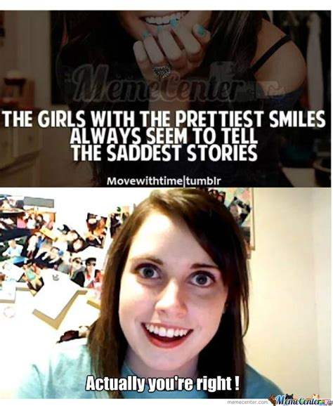 Smile Girl Meme - sad smiling girl by zizia meme center