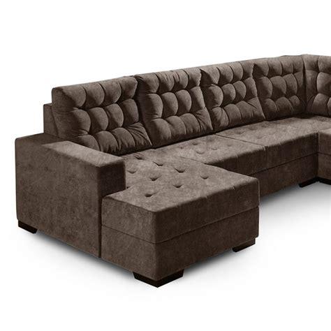 sofá suede amassado sof 225 de canto 5 lugares marrocos suede amassado marrom