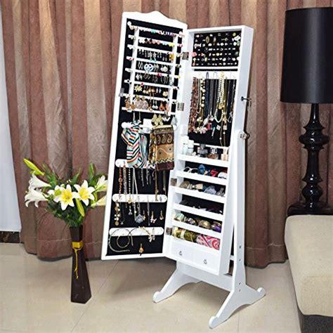 organizedlife white mirror jewelry armoire  standing