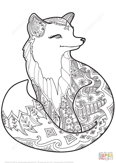 Zentangle Fox coloring page from Zentangle category