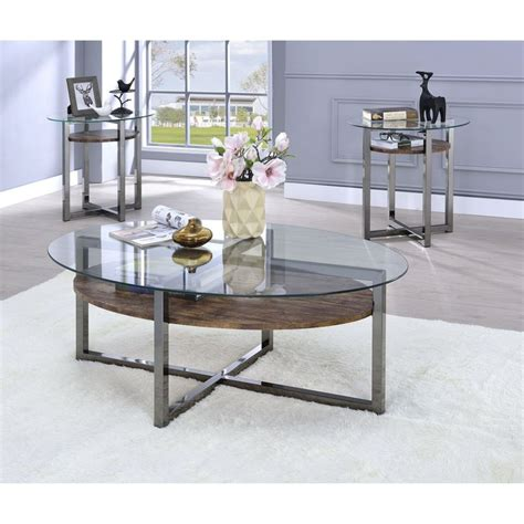 You can choose a glass coffee table with different material stands or support, such as wood, ceramic, or metal. Metal Base Oval Coffee Table with Wooden Shelf and Glass Top, Black and Brown in 2020   Coffee ...