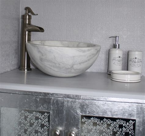Bathroom Sinks Vessel Bowls by Small Vessel Sink Bowl Honed White Marble Contemporary