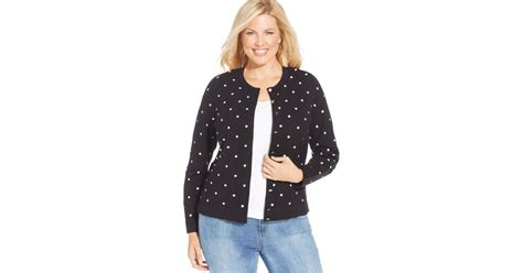 Charter Club Plus Size Polka-dot Cardigan In Blue (black Combo)