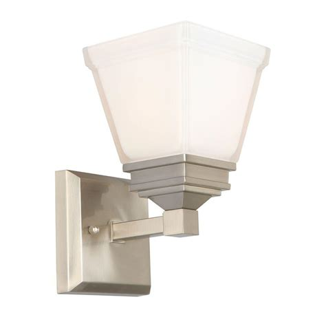 hton bay landray 1 light brushed nickel sconce hjc1391a