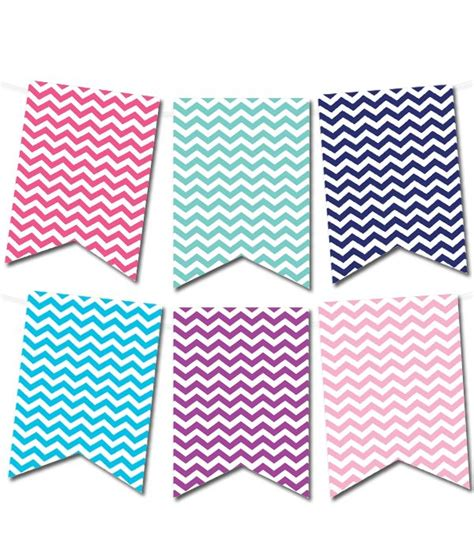chevron pennant banner   colors  printable