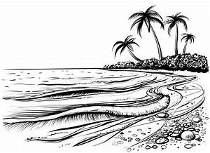 Ocean Or Sea Beach With Palms And Waves, Sketch. Black And ...