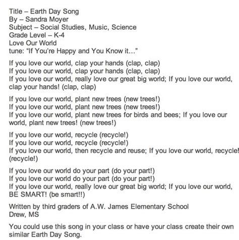 preschool earth day songs 25 best earth day songs images on preschool 827