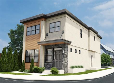 narrow lot contemporary duplex house plan hunters