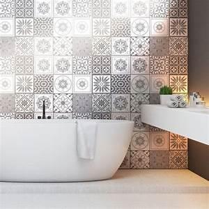 Stickers Carreaux De Ciment Cuisine : 12 stickers carreaux de ciment nuances de gris cordoba ~ Melissatoandfro.com Idées de Décoration